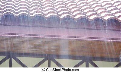 Rain runs off the roof. Video shift