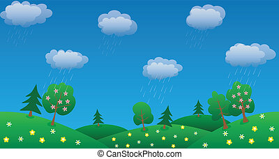 rain sky background with green grass and flowers