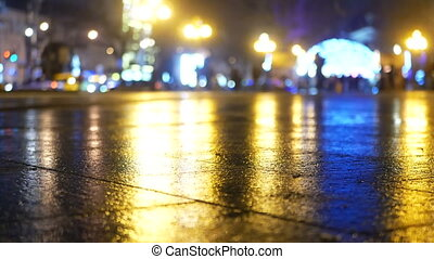 Rain snow night walk