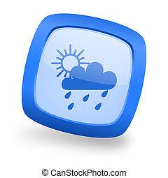 rain square glossy blue web design icon