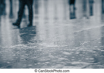 Rain in the city - selective focus