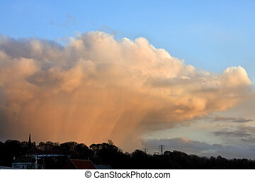 Rain storm in North Yorkshire in the British Isles.