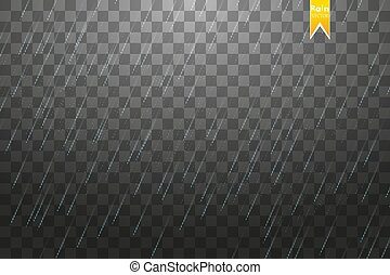 Rain transparent template background. Falling water drops...