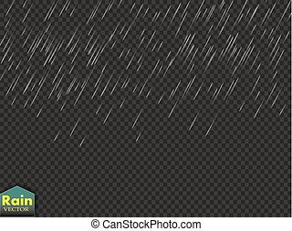 Rain transparent template background. Falling water drops texture. Nature rainfall on checkered background.