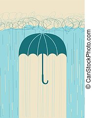 Rain. Vector hand drawn image with umbrella and dark clouds