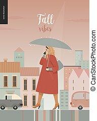 Rain - walking woman