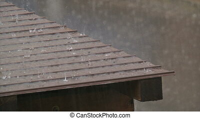 Rain water flowing on a roof