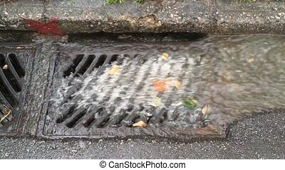 rain water storm drain gutter - Rain water flowing to storm...