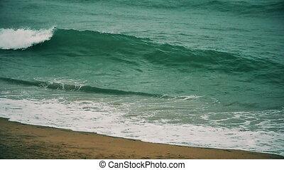 rain wave in sea slow motion