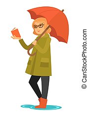 Rain weather woman or girl under umbrella reading book vector flat isolated icon