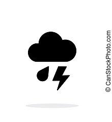 Rain with lightning weather icon on white background.