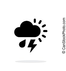 Rain with lightning weather simple icon on white background.