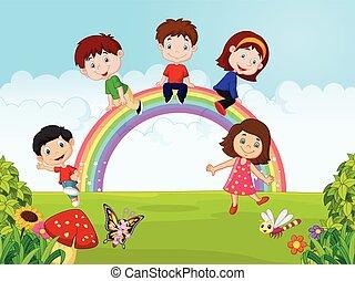 rainb, felice, bambini, cartone animato, seduta