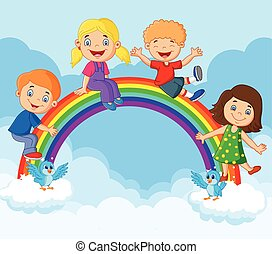 rainb, glücklich, kinder, karikatur, sitzen