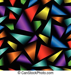 Rainbow 3d triangle patterns on black background. Seamless modern vector ornament.