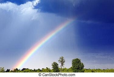 Rainbow - A rainbow forms as a storm passes through