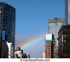 Rainbow - A rainbow over a modern city-Sendai, Japan