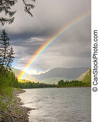 rainbow above river
