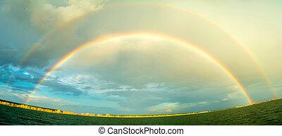 Rainbow above river