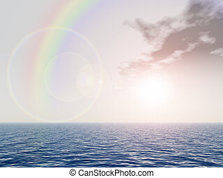 rainbow above sea