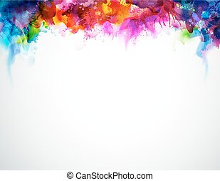 Rainbow abstraction - Bright abstract watercolor stains....