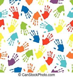 rainbow adult hand prints seamless