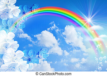 Rainbow against the sky - White flowers and rainbow against ...