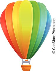 Rainbow air balloon icon, cartoon style