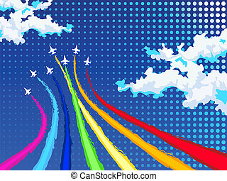Rainbow air show - Rainbow airplanes flying over clouds