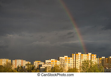 Rainbow, amazing view after rain in the city