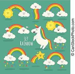 Rainbow among the clouds and Unicorn