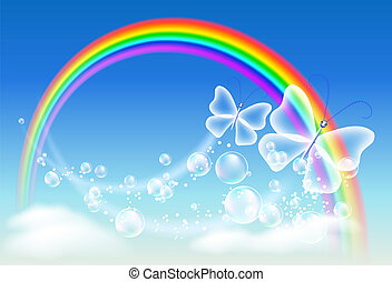 Rainbow and butterfly - Butterfly, clouds, bubbles and...