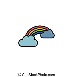 Rainbow and clouds. Filled color icon. Weather vector ...