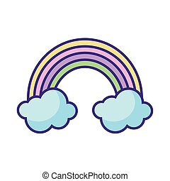 rainbow and clouds icon, flat style