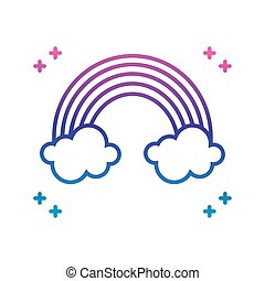 rainbow and clouds icon, gradient line style