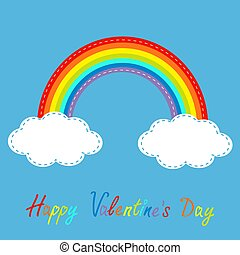 Rainbow and clouds in the sky. Dash line. Happy Valentines Day c