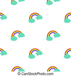 Rainbow and clouds pattern seamless