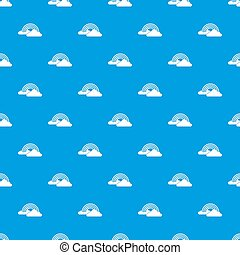 Rainbow and clouds pattern seamless blue