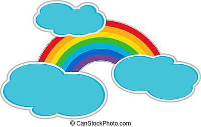 Rainbow with stylized clouds as isolated clipart