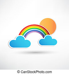rainbow and clouds with sun icon