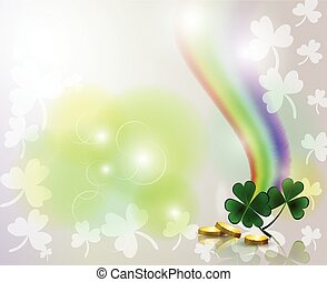 Rainbow and clover with golden coins on background