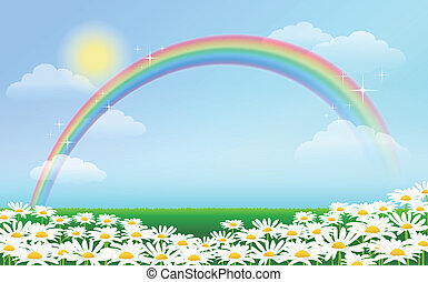 Rainbow and daisies spreading on the green ground against blue sky. File contains Blending tool, Gradient, Transparent.