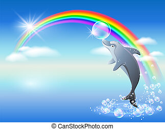 Rainbow and dolphin - Dolphin leaps from water on the...