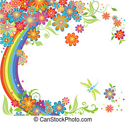 Rainbow and flowers
