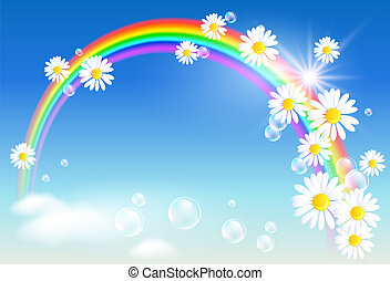 Rainbow and flowers - Rainbow, clouds and diasy