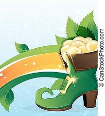 Rainbow and  leprechaun shoe with