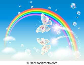 Rainbow and magic butterfly