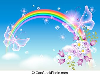 Rainbow and magic butterfly in the sky - Rainbow with...