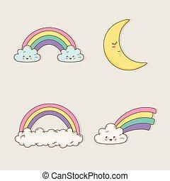 rainbow and moon kawaii characters