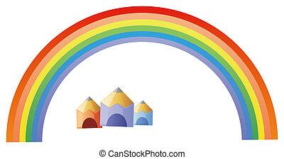 rainbow  and pencil